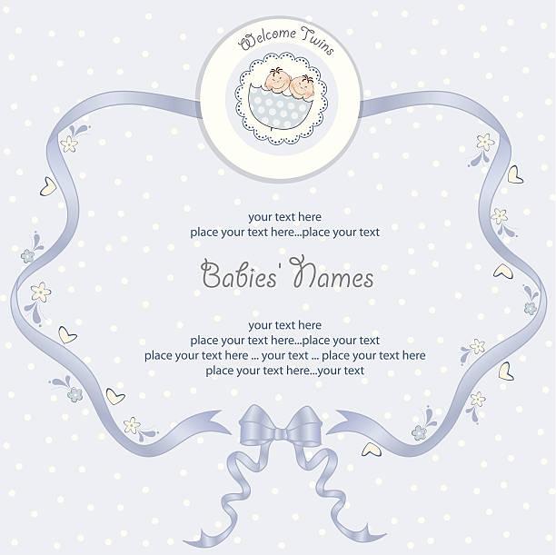 Babies Twins Shower card vector art illustration