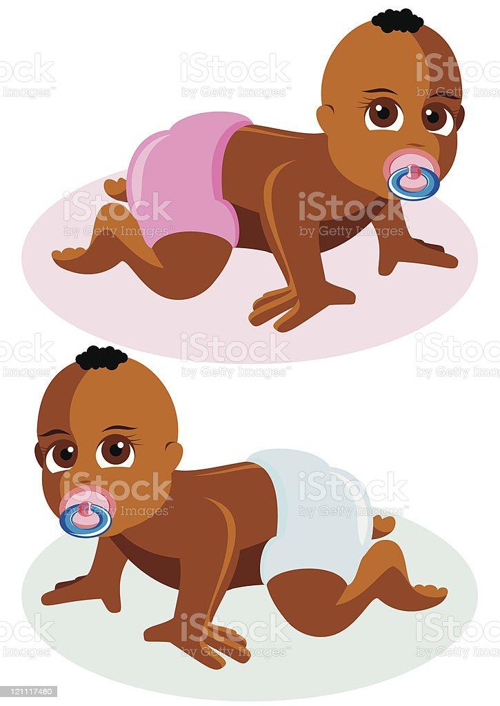 Babies vector art illustration