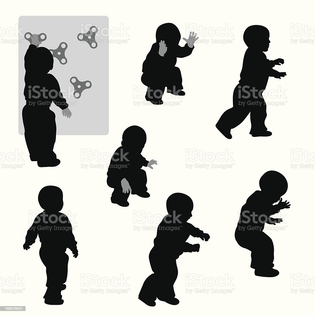 Babies Vector Silhouette vector art illustration