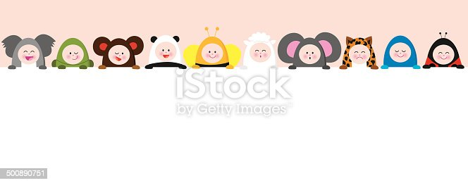 Vector illustration of a group of ten babies wearing animal suits holding a sign.