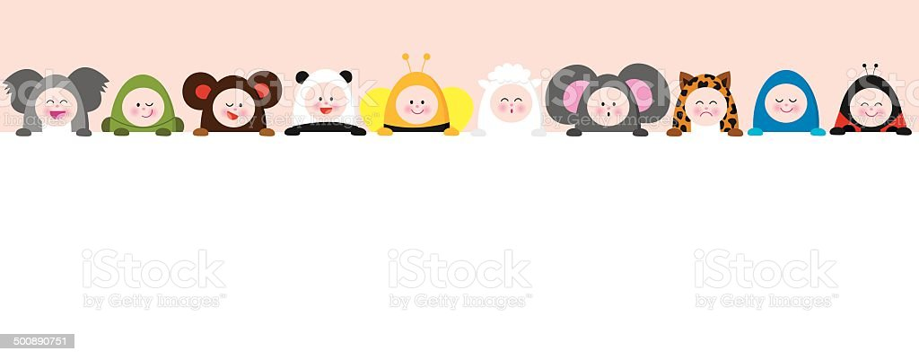 Babies with animal suits holding a sign 2 vector art illustration