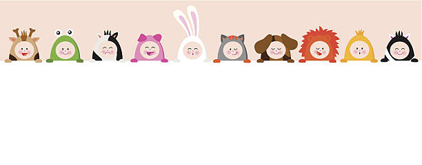 Babies with animal suits holding a sign vector art illustration