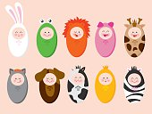 Set of 10 vector illustrations of babies wearing animal suits.
