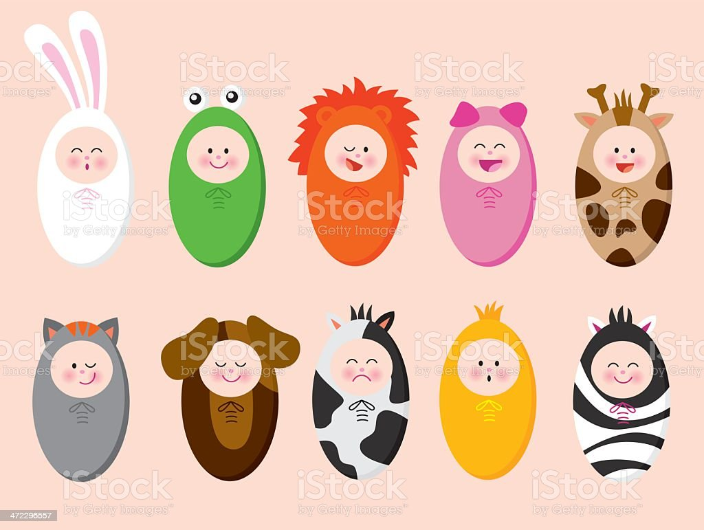 Babies with animal suits vector art illustration