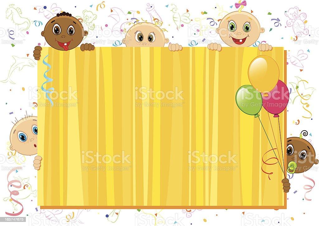Babies yellow frame royalty-free stock vector art