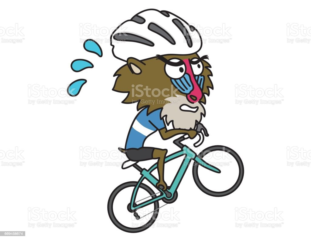 Baboon climbing hill by Road Bike vector art illustration