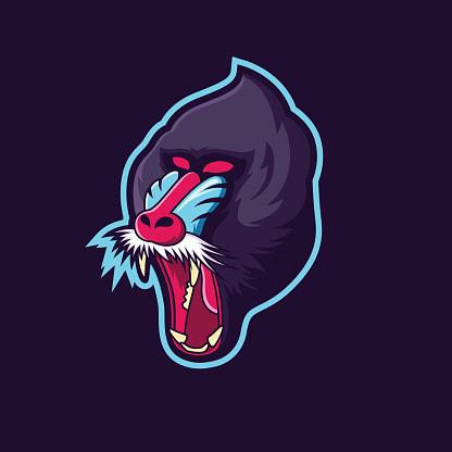 baboon head mascot logo design