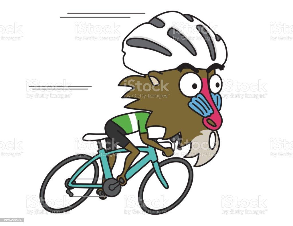 ヒヒは、ロード自転車で全力疾走します。 ベクターアートイラスト