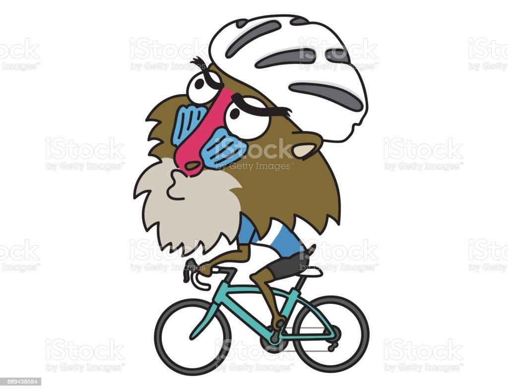 ヒヒに乗るロードバイク ベクターアートイラスト