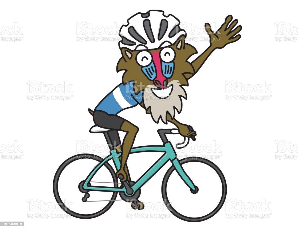 自転車にヒヒ ベクターアートイラスト