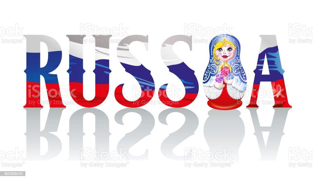 Babushka with russian flag and RUSSIA vector art illustration