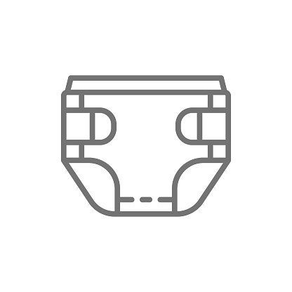 Baby absorbent diaper line icon.