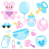 Baby accessories in blue and pink colors. Vector collection