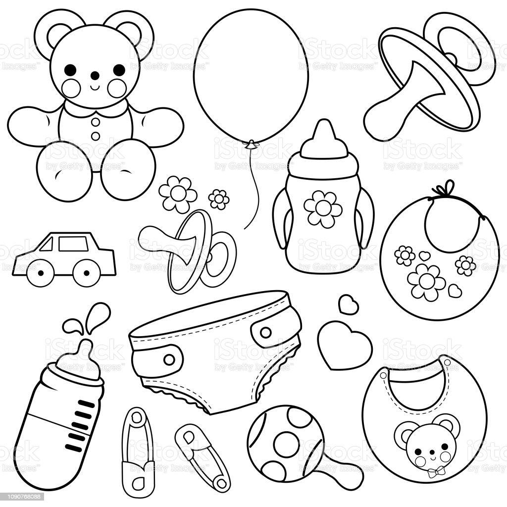 Ilustración De Accesorios De Bebé Vector Blanco Y Negro Para