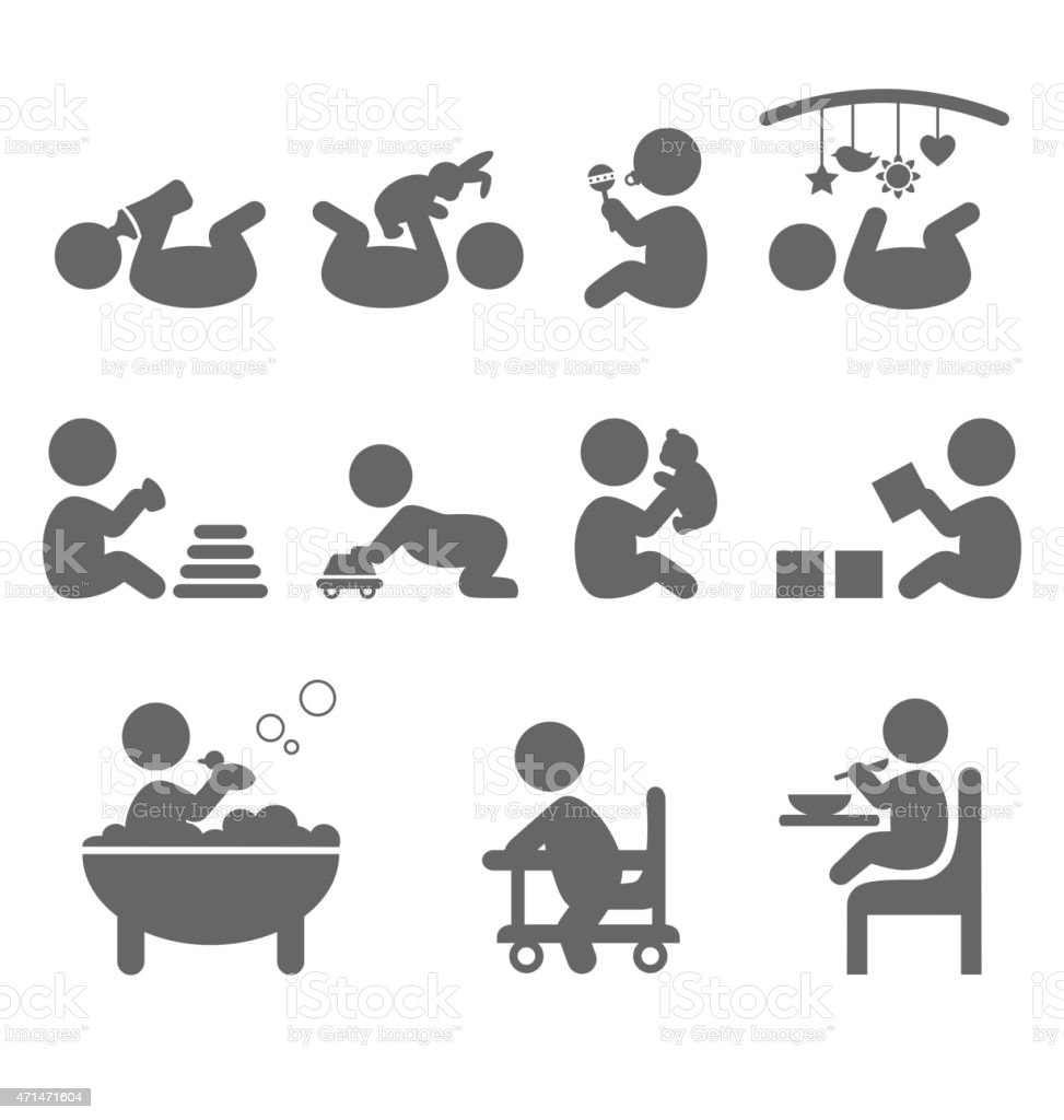 Baby action flat icons isolated on white vector art illustration