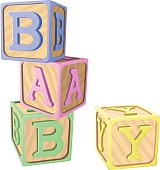 "Vector illustration of children's alphabet blocks in pastel colors, spelling out the word ""BABY"". Each block is on its own layer, easily separated from the other blocks in a program like Illustrator, etc. Illustration uses linear gradients. Both .ai and AI8-compatible .eps formats are included, along with a high-res .jpg, and a high-res .png with transparent background."