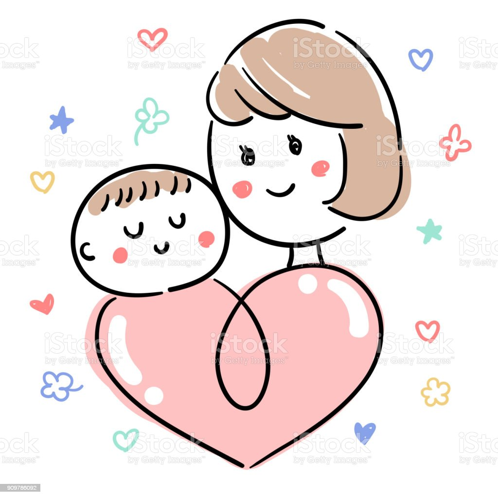 Baby and child care_Mother & baby icon vector art illustration