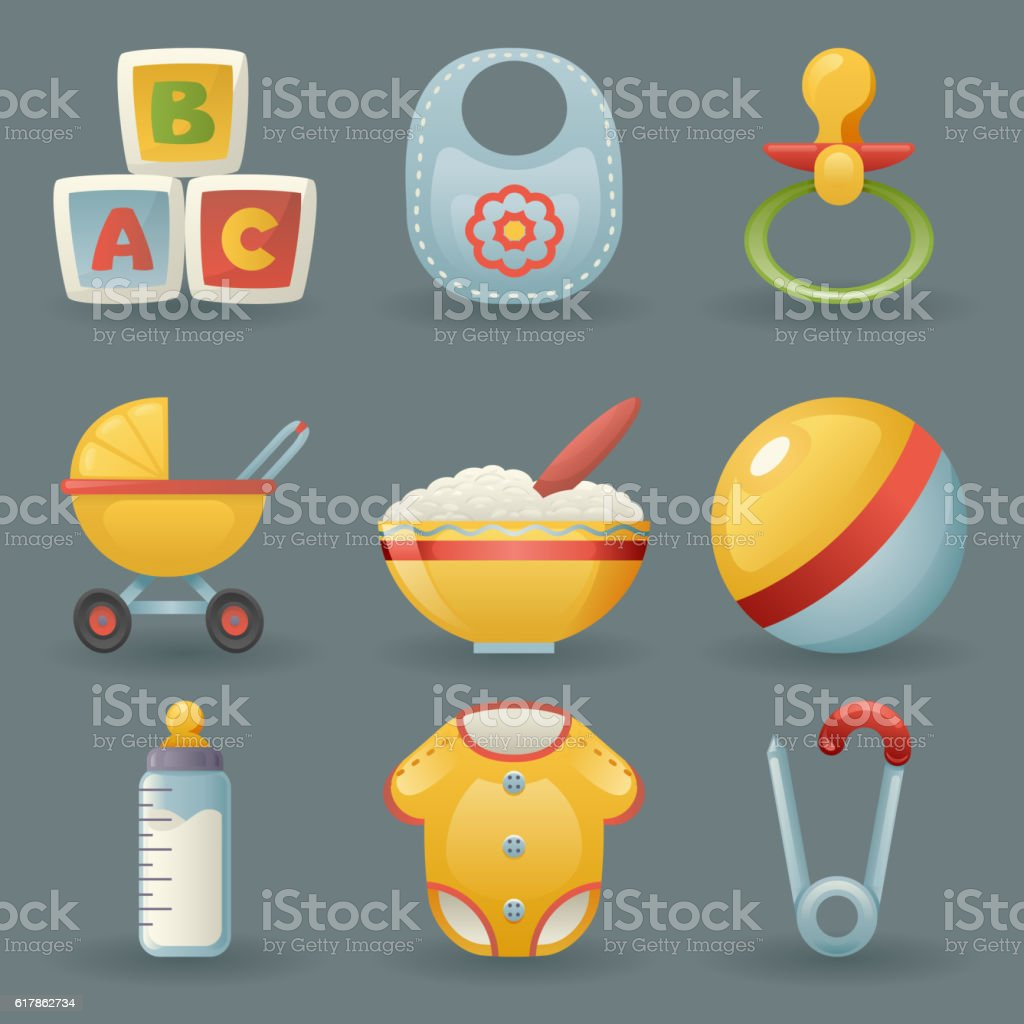 Baby and Childhood Icons  Symbols Realistic Cartoon Set Vector illustration - Illustration vectorielle