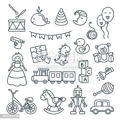 Baby and children toys vector outline illustrations. Cute dool, ball, car, bicycle and other children elements