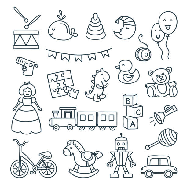 baby and children toys vector outline illustrations. cute dool, ball, car, bicycle and other children elements - zabawka stock illustrations