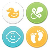Baby footprints, rubber duck, passifer, baby face and other infant icons and symbols. EPS 10 file. Transparency effects used on highlight elements.