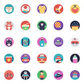 Baby and Kids Flat Vector Icons Collection