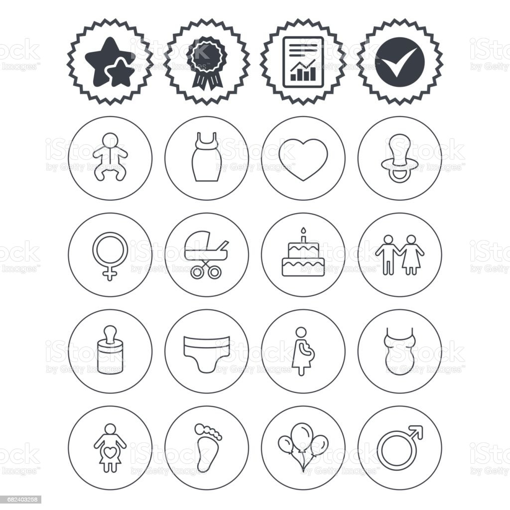 Baby and Maternity line icon. Pacifier, diapers. vector art illustration
