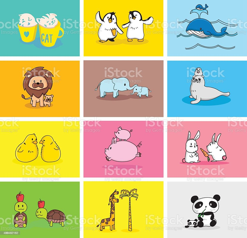 Baby and Mommy Animal Set vector art illustration