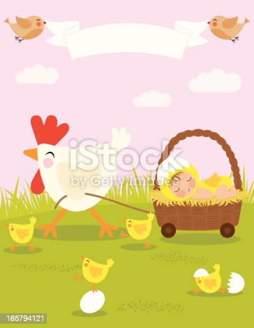 Birth announcement for spring and Easter
