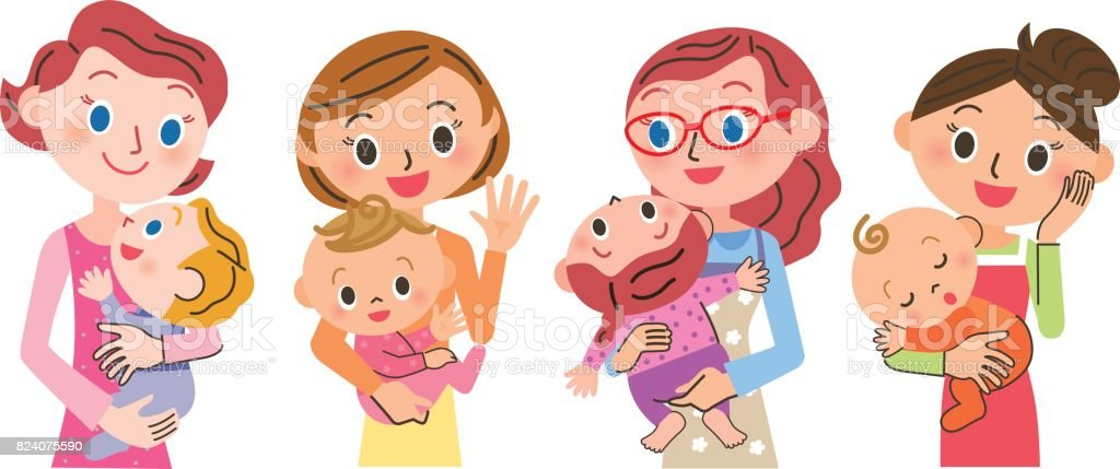 Baby and mother vector art illustration
