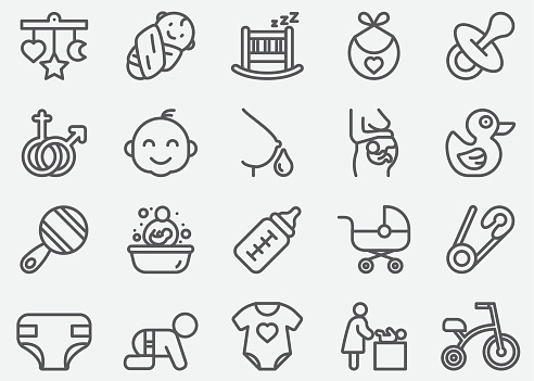 Baby and Newborn Line Icons