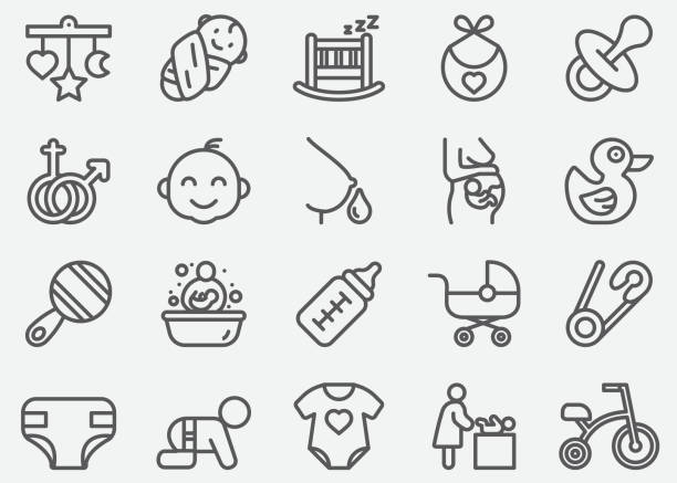 baby and newborn line icons - new born baby stock illustrations