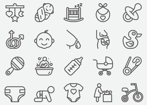ilustrações, clipart, desenhos animados e ícones de bebê e linha recém-nascido ícones - bebês