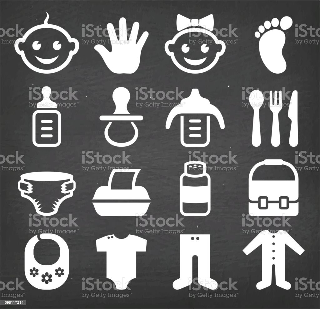 Baby and newborn royalty free vector icon set vector art illustration