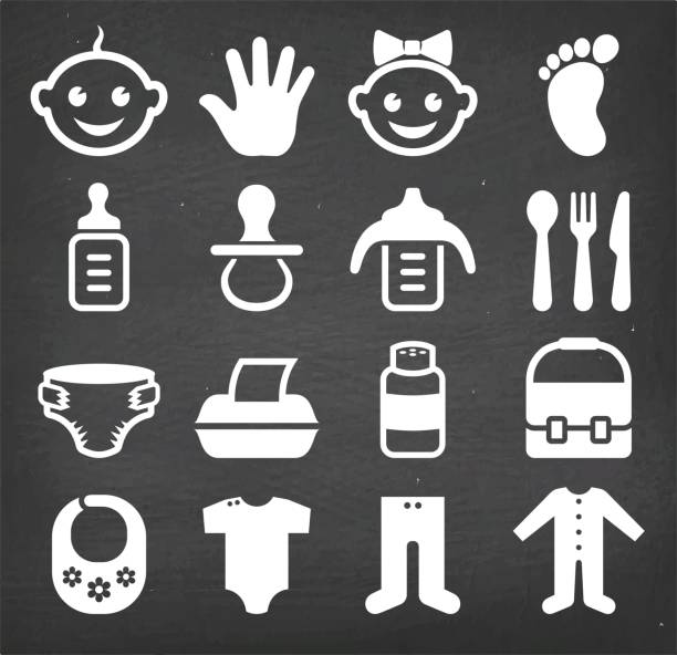 illustrazioni stock, clip art, cartoni animati e icone di tendenza di baby and newborn royalty free vector icon set - galateo a tavola