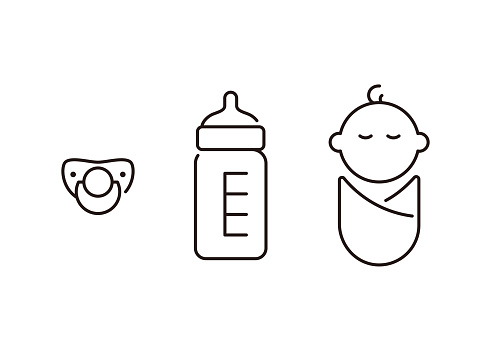 Baby and nursing bottle icon, vector illustration