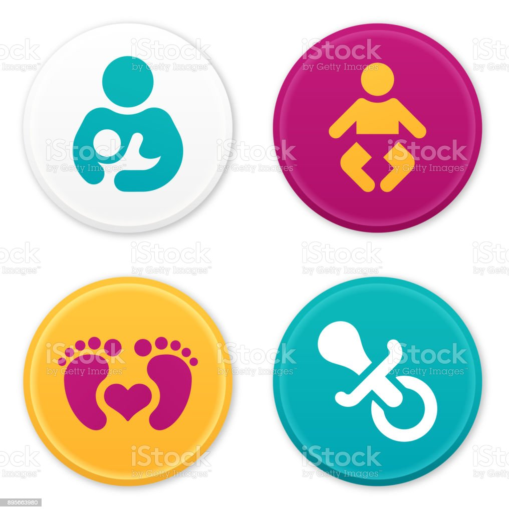 Baby and Parent Icons and Symbols vector art illustration