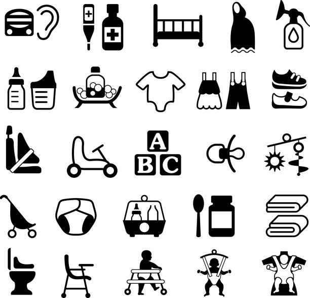 赤ちゃんと子育て製品アイコンの説明 - 保育点のイラスト素材/クリップアート素材/マンガ素材/アイコン素材