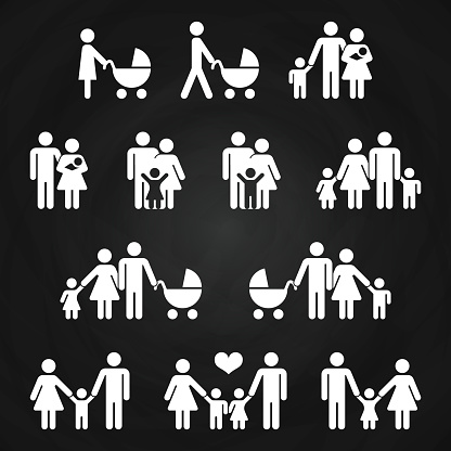 Baby and parents outline icons design - white family pictograms clipart
