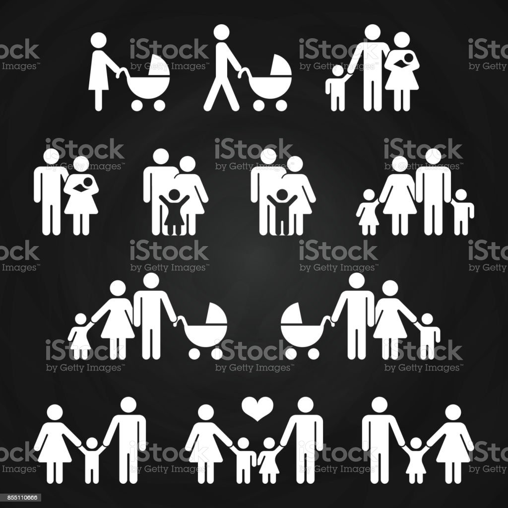 Baby and parents outline icons design - white family pictograms vector art illustration
