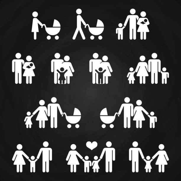 baby and parents outline icons design - white family pictograms - family stock illustrations