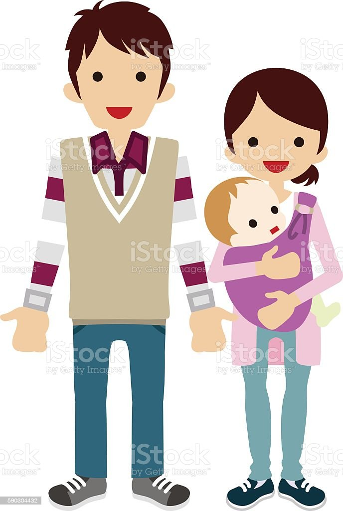 Baby and Parents vector art illustration