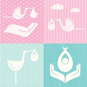 Set of baby and stork icons on textured backgrounds