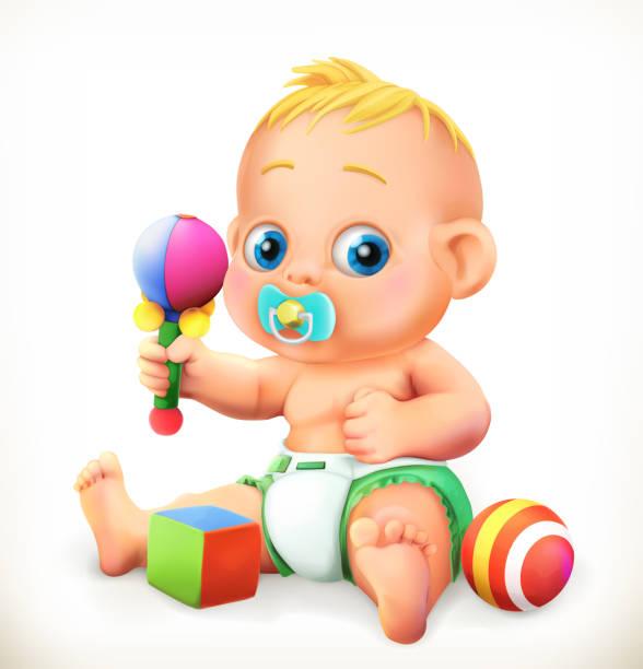 stockillustraties, clipart, cartoons en iconen met baby- en speelgoed, 3d-vector pictogram - alleen één jongensbaby