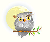 istock Baby animal owl watching at night sitting on the tree branch with stars in the sky and full moon. Cute clipart for children. 1249797044