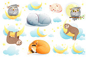 Cute sleeping baby animals clipart collection. Sloth, elephant, fox, owl, mouse dreaming with stars and moon. Sweet good night cartoon watercolor style illustrations for children. Vector nursery art.