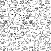 Baby animals icons seamless pattern monochrome
