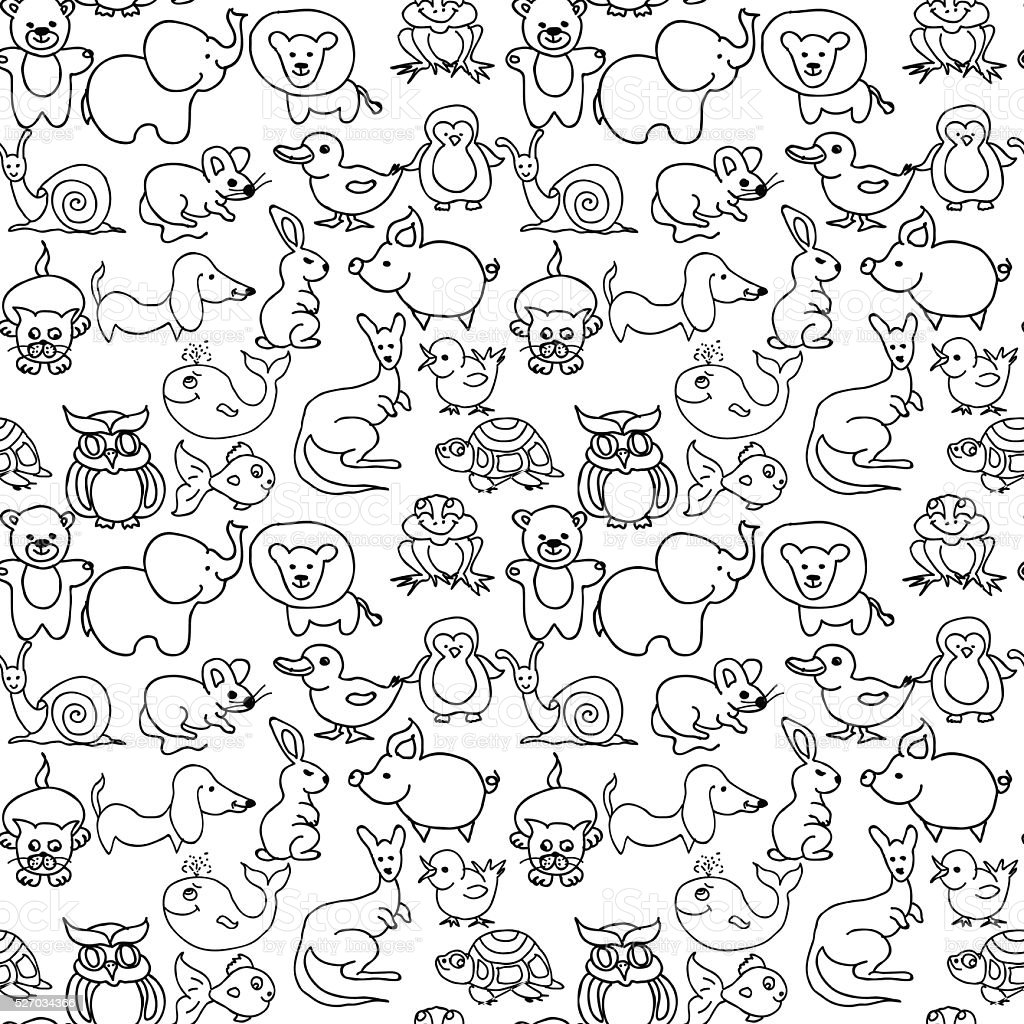 Baby animals icons seamless pattern monochrome vector art illustration