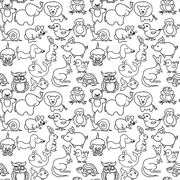 baby animals icons seamless pattern monochrome - black and white owl stock illustrations, clip art, cartoons, & icons