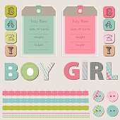 Baby Announcement Scrapbook Elements